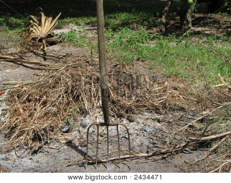 Pitchfork Stuck In Ground