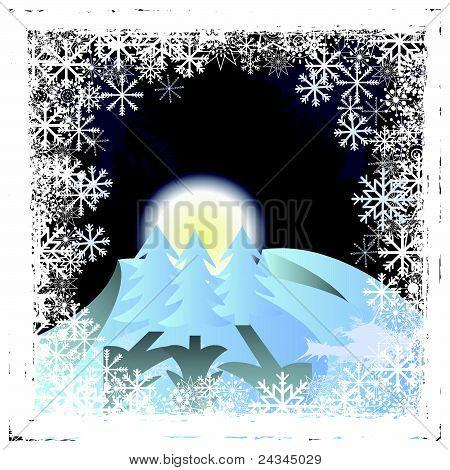 Frozen Window With Winter Landscape