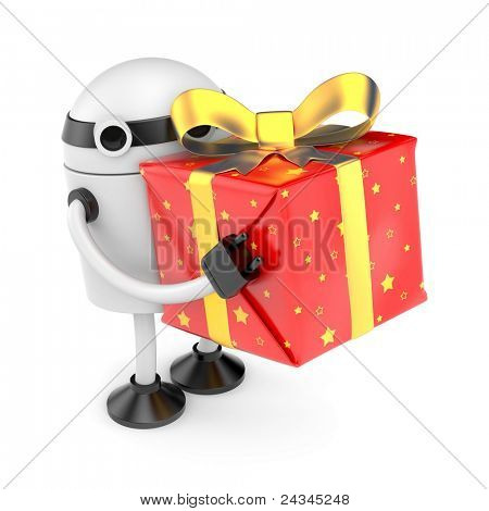 Roboter mit Geschenk-box