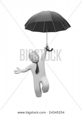 Businessman goes down(or up) on the umbrella