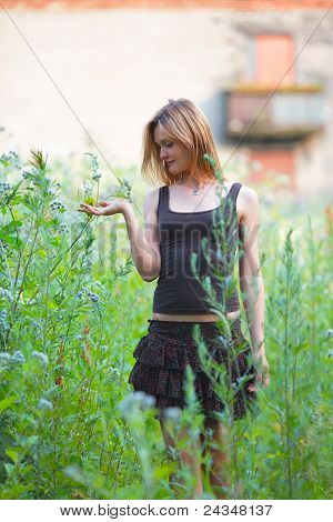 Beautiful Girl in Grass