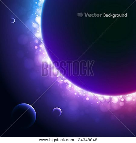 Fundo de espaço com luz por trás do planeta