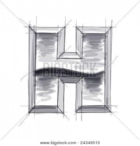 3d metal letters sketch - H. Bitmap copy my vector
