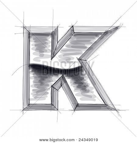 3d metal letters sketch - K. Bitmap copy my vector