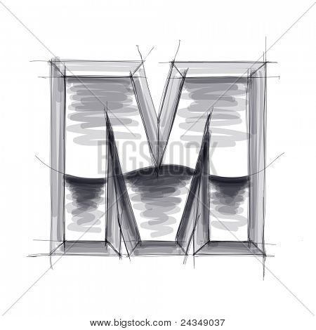 3d metal letters sketch - M. Bitmap copy my vector
