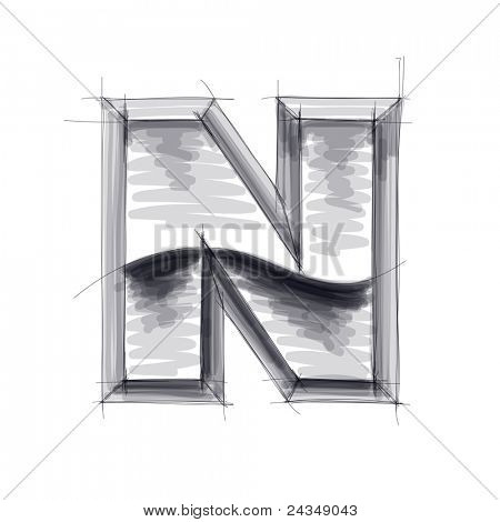 3d metal letters sketch - N. Bitmap copy my vector