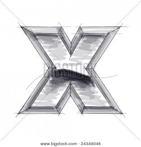 3d metal letters sketch - X. Bitmap copy my vector