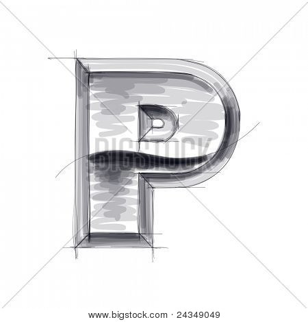 3d metal letters sketch - P. Bitmap copy my vector