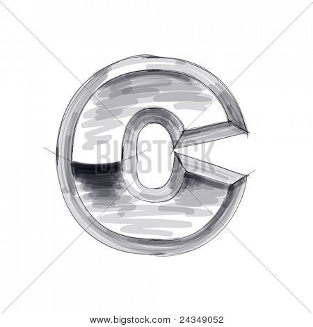 3d metal letters sketch - C. Bitmap copy my vector