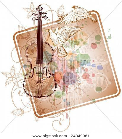 Violin, music sheets, flying doves on the color paint background of stylized ornament &  orchid flowers. Bitmap copy my vector ID 71330056