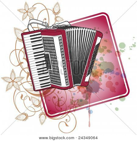 Accordion & floral calligraphy ornament - a stylized orchid, color paint background. Bitmap copy my vector ID 71112247
