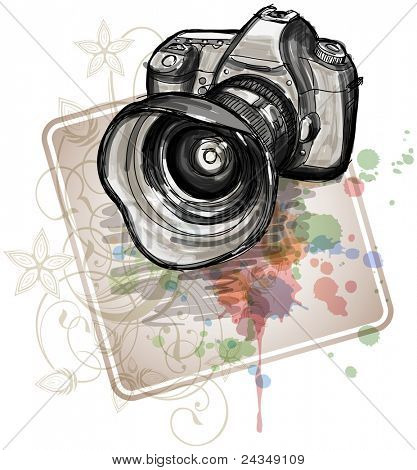 Color sketch of a digital photo camera  & floral calligraphy ornament - a stylized orchid, color paint background. Bitmap copy my vector