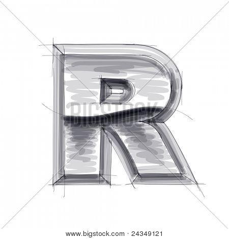 3d metal letters sketch - R. Bitmap copy my vector