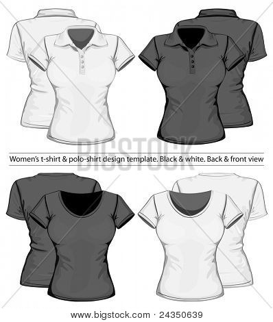 Vector. Camisa de polo de las mujeres y la plantilla de diseño de la camiseta (vista frontal y trasera)