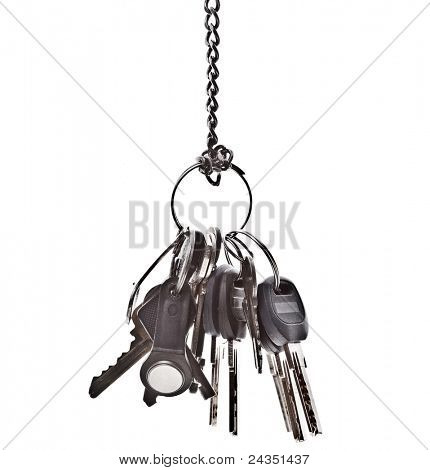 a bunch of different keys isolated on white