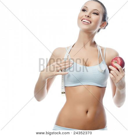 portrait of attractive  caucasian smiling woman isolated on white studio shot with apple