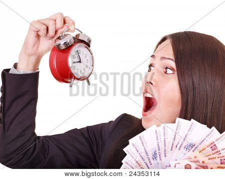 Woman with  money and alarm. Russian rouble. Isolated.