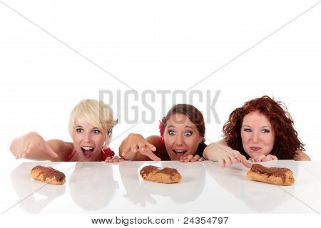 Three Attractive Young Woman Longing Eyes