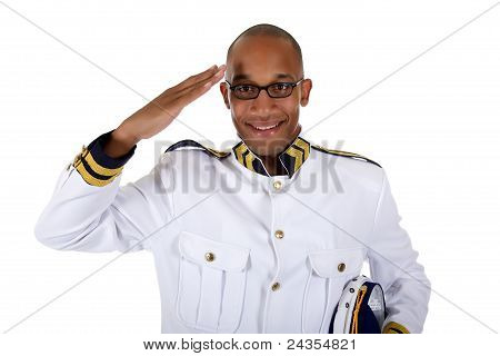 Attractive African American Cruise Ship Steward, Salute