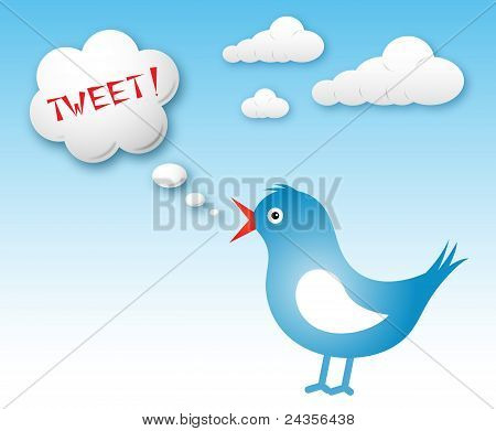 Bird And Text Cloud With Tweet