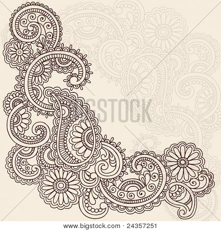 Hand-Drawn Abstract Henna Mehndi Swirls, Flowers and Paisley Doodle Vector Illustration Design Elements