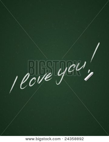 Hand drawn i love you message lettering on blackboard. Vector background eps 10.