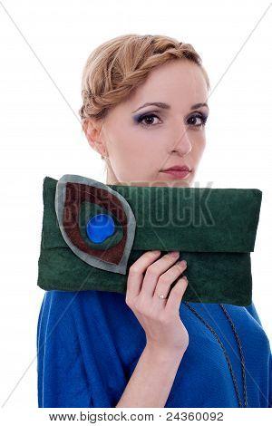 Fashion Woman Holding Little Purse