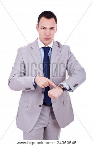 Man Impatiently Pointing To His Watch