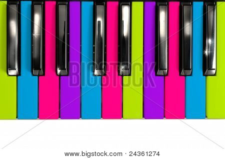 Multicolored Disco Style Piano Keys