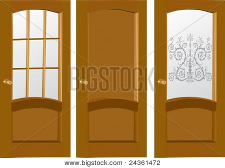 illustration with three wood doors isolated on white background