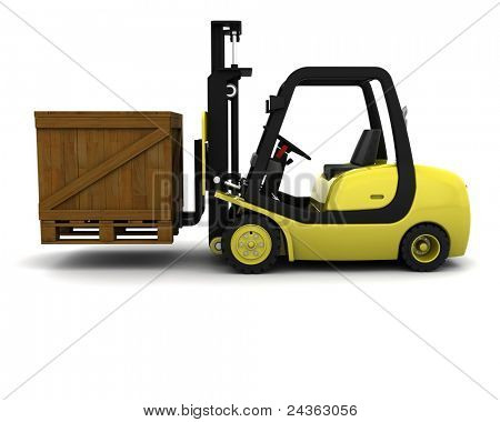 3D Render of Yellow Fork Lift Truck on White
