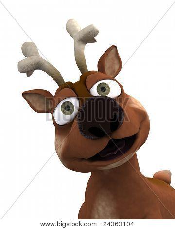 3D Render of a cute reindeer charicature