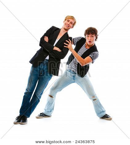Two Teenage Boys Having Fun. Isolated On White