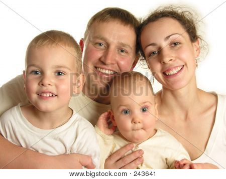 Family Of Four Faces Isolated 3