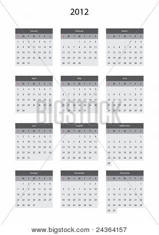 Calendar grey for 2012