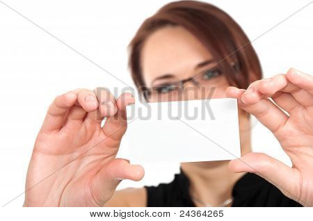 Woman Hand Holding White Empty Blank Business Card