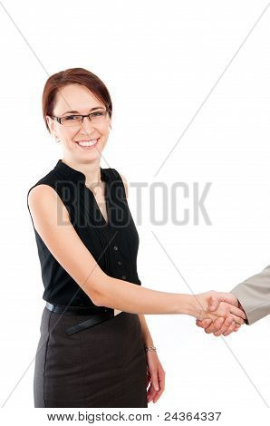 Business Woman Shaking Male Hand
