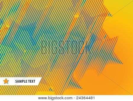 Abstract Pattern From Striped Stars On Orange Background