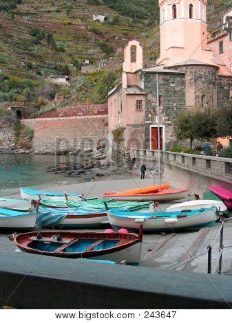 Cinque Terra Vernazza Boats