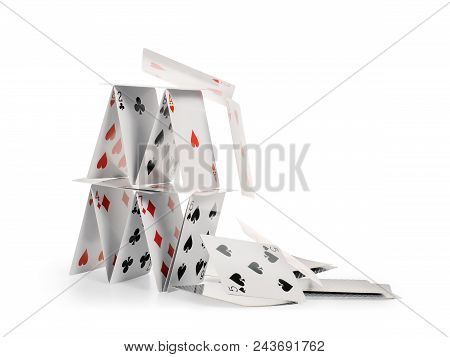 Crashed House Of Cards Falling