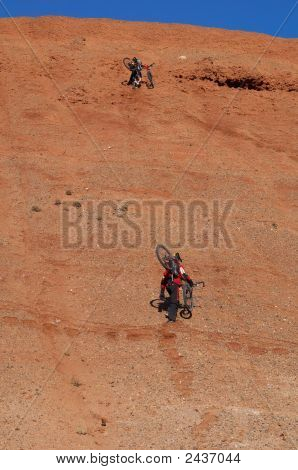Bikers Uphill For Extreme Downhill