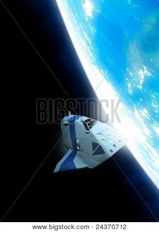 Kleine Raumschiff In der Erdumlaufbahn