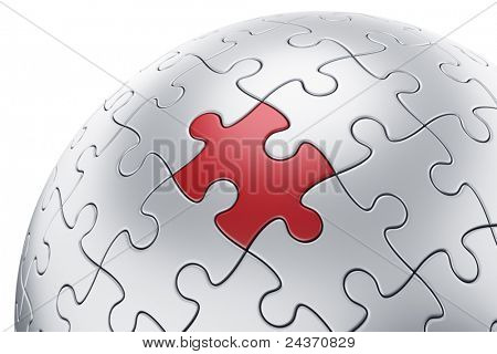 3d rendering of a spherical puzzle with one piece in red