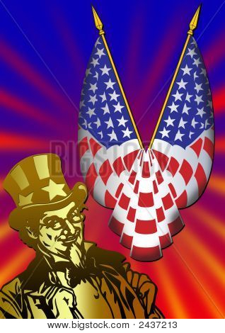 Uncle Sam With Flag