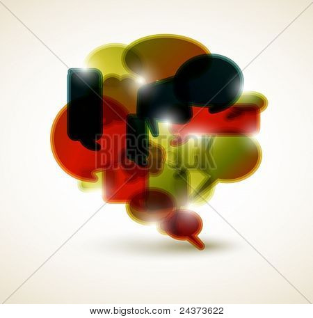Big speech bubble made from small bubbles - retro colors