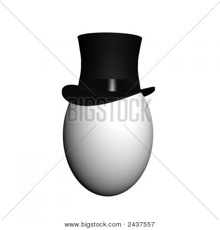 Render Of Isolated Egg Wearing A Classic Black Top Hat