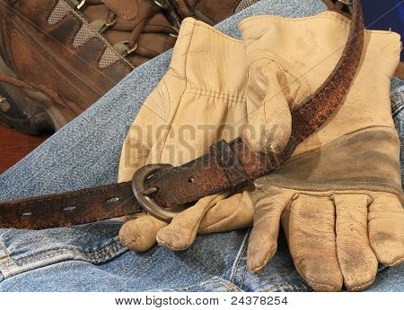Boots Belt And Gloves