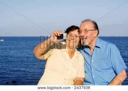 happy smiling senior Couple im Urlaub