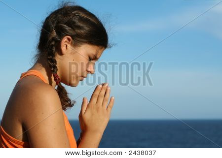 Christian Child Praying, Religion And Faith