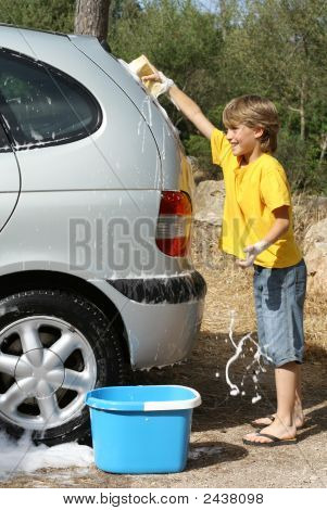 Children Helping With Chores Washing Family Car